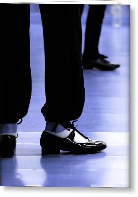 Tap Dance In Blue Are Shoes Tapping In A Dance Academy Greeting Card