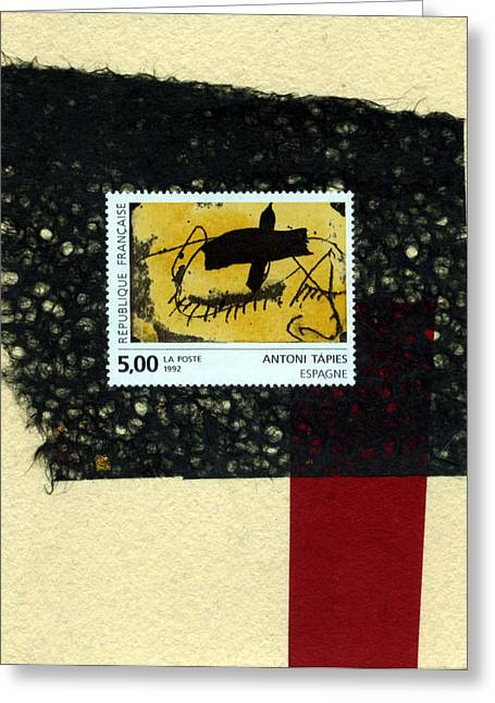 Tapies Stamp Collage Greeting Card