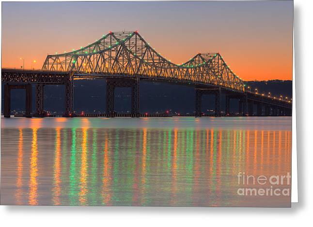 Westchester County Greeting Cards - Tappan Zee Bridge after Sunset I Greeting Card by Clarence Holmes
