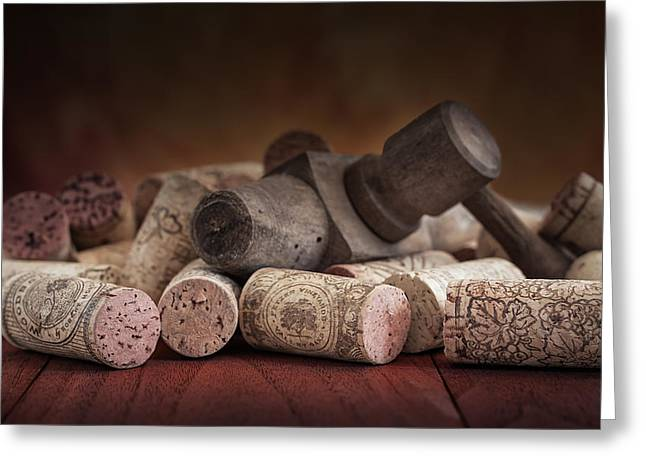 Tapped Out - Wine Tap With Corks Greeting Card by Tom Mc Nemar