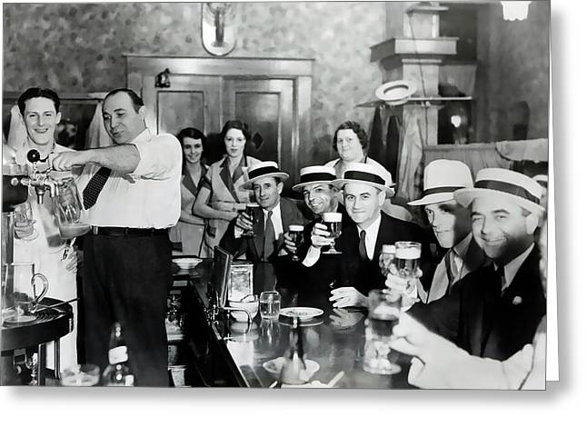 Taps Flowing Again In Chicago - Prohibition Ends  1933 Greeting Card