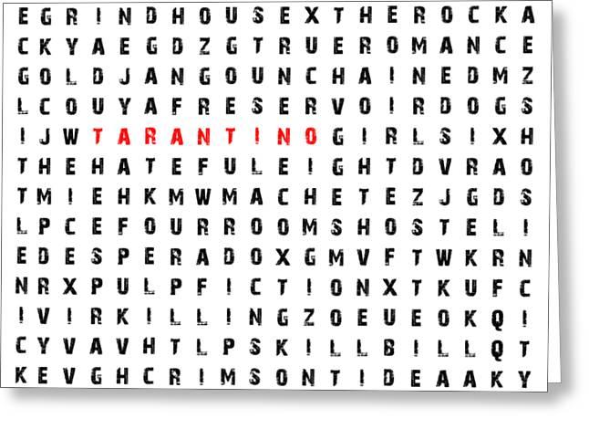 Tarantino Word Finder Greeting Card by Gustavo Oliveira