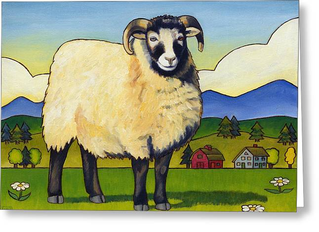 Taras Sheep Greeting Card by Stacey Neumiller