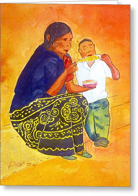 Tarascan Senora  And Nino Greeting Card by Buster Dight