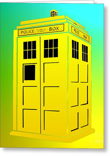Tardis 5 Greeting Card by Justin Moore