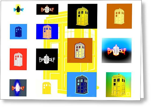 Tardis 8 Greeting Card by Justin Moore