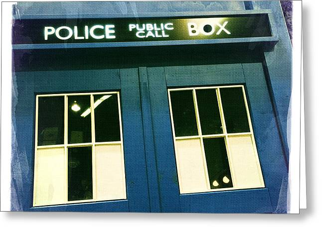 Tardis Dr Who Greeting Card by Nina Prommer