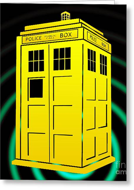Tardis Element Greeting Card by Justin Moore