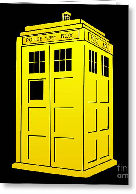 Tardis Yellow And Black Greeting Card by Justin Moore