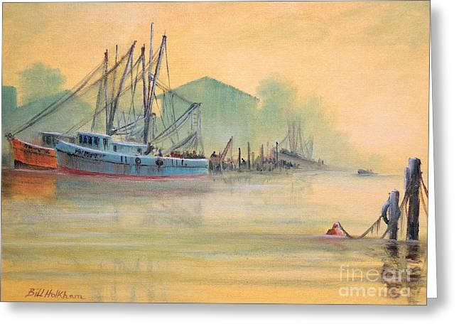 Tarpon Springs Sponge Docks Misty Sunrise Greeting Card by Bill Holkham
