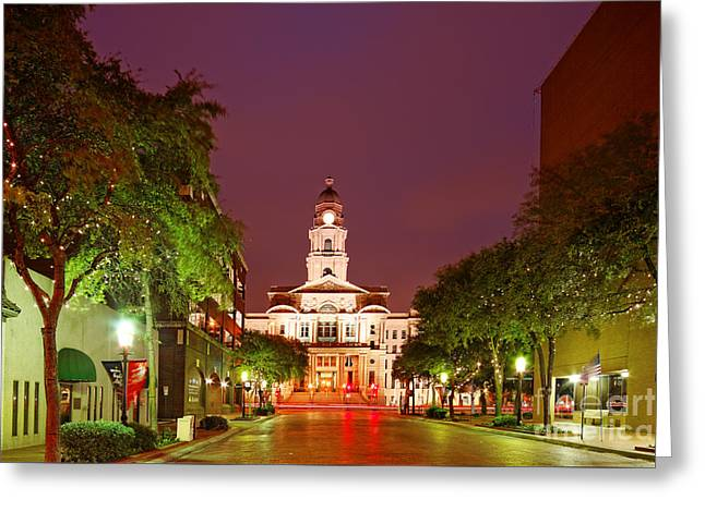 Tarrant County Courthouse At Twilight - Fort Worth North Texas Greeting Card by Silvio Ligutti