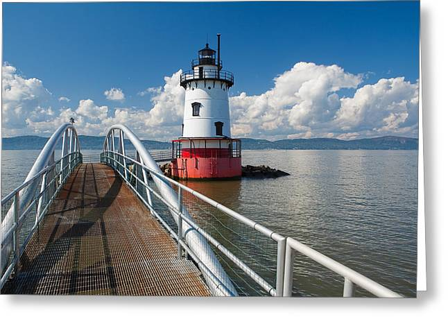 Tarrytown Lighthouse Hudson River New York Greeting Card by George Oze