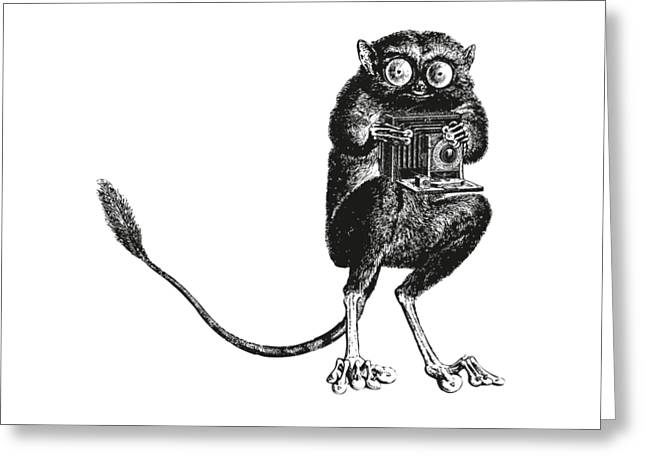 Tarsier With Vintage Camera Greeting Card by Eclectic at HeART