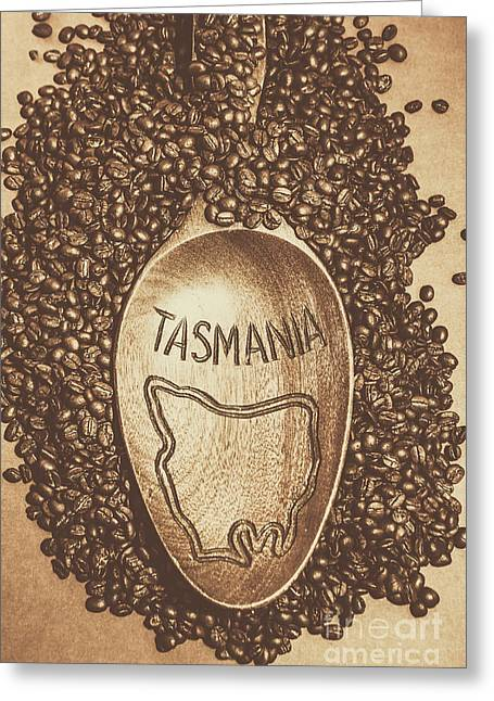 Tasmania Coffee Beans Greeting Card