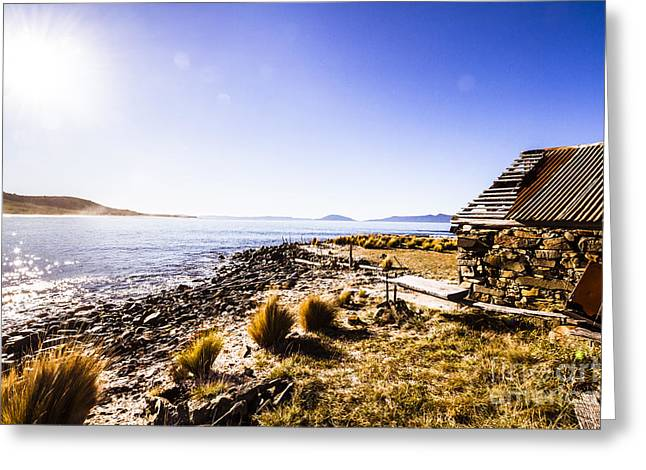 Tasmanian Boat Shed By The Ocean Greeting Card by Jorgo Photography - Wall Art Gallery