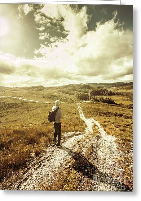 Tasmanian Man On Road In Nature Reserve Greeting Card by Jorgo Photography - Wall Art Gallery
