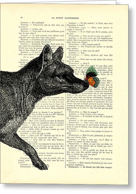 Tasmanian Tiger And Orange Butterfly Antique Illustration On Dictionary Page Greeting Card