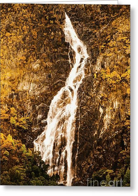 Tasmanian Waterfall Landscape Greeting Card