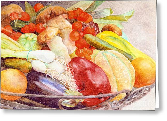 Greeting Card featuring the painting Tastes Of Tuscany by Bonnie Rinier
