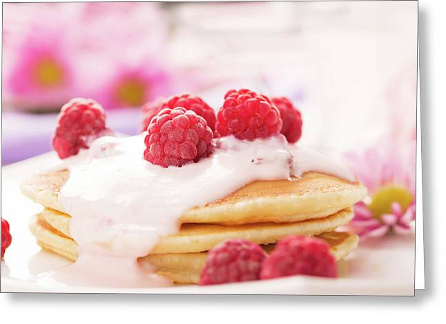 Tasty Pancakes With Raspberries  Greeting Card by Vadim Goodwill