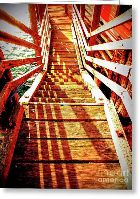 Tathra Wharf Stairs Greeting Card by Lexa Harpell