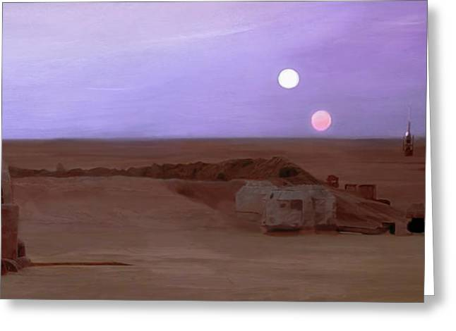 Tatooine Sunset Greeting Card by Mitch Boyce