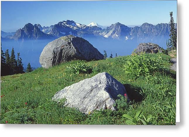 1m4862-tatoosh Range And Mt. St. Helens  Greeting Card