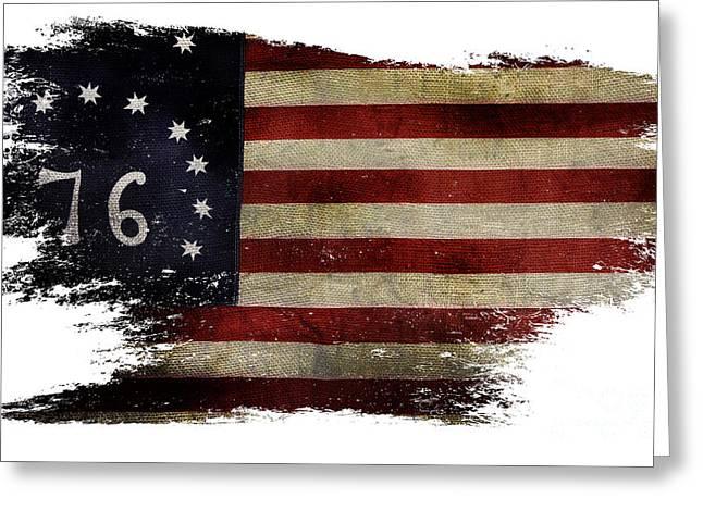 Tattered Bennington Flag Greeting Card by Jon Neidert