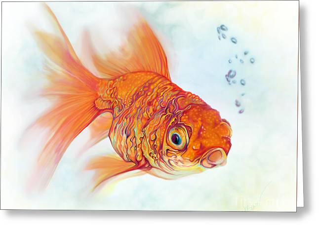 Tattoo And Watercolor Goldfish Greeting Card by Julianne Black