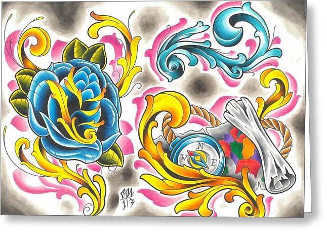Tattoo Flash - 6 Of 15 Greeting Card by Christopher Nettle