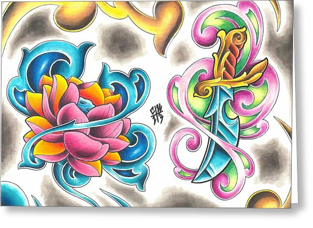 Tattoo Flash - 8 Of 15 Greeting Card by Christopher Nettle