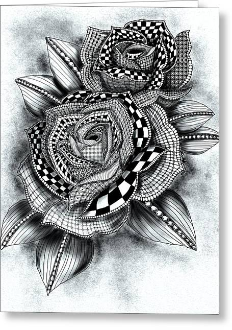 Tattoo Rose Greyscale Greeting Card by Becky Herrera