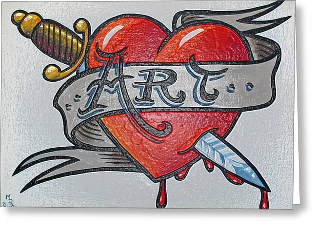 Tattoo Style Art 2 Greeting Card by Martin Girolami
