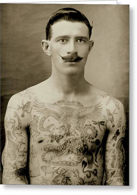 Tattooed British Sailor During The First World War Greeting Card