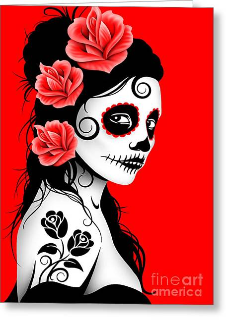 Tattooed Day Of The Dead Sugar Skull Girl Red Greeting Card by Jeff Bartels