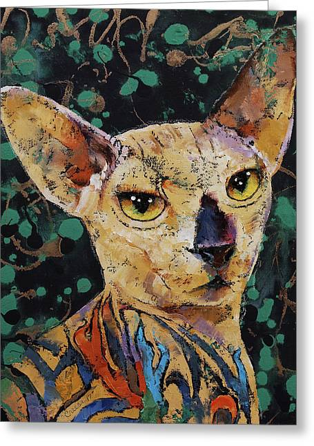Tattooed Sphynx Greeting Card by Michael Creese