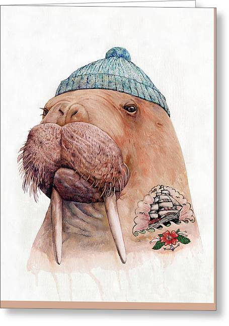 Tattooed Walrus Greeting Card