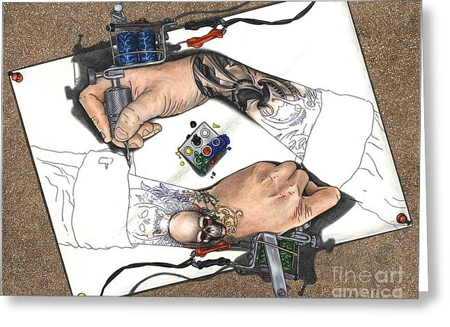 Tattooing Hands Greeting Card
