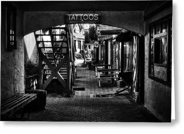 Tattoos And Body Piercing In Black And White Greeting Card by Greg Mimbs