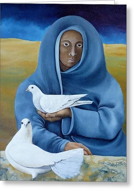Taubenfrau Greeting Card by Amrei Al-Tobaishi-Jarosch