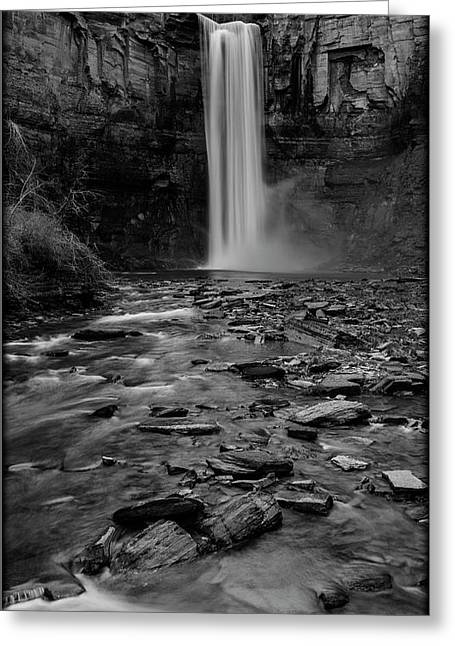 Taughannock Falls In Bw Greeting Card by Stephen Stookey