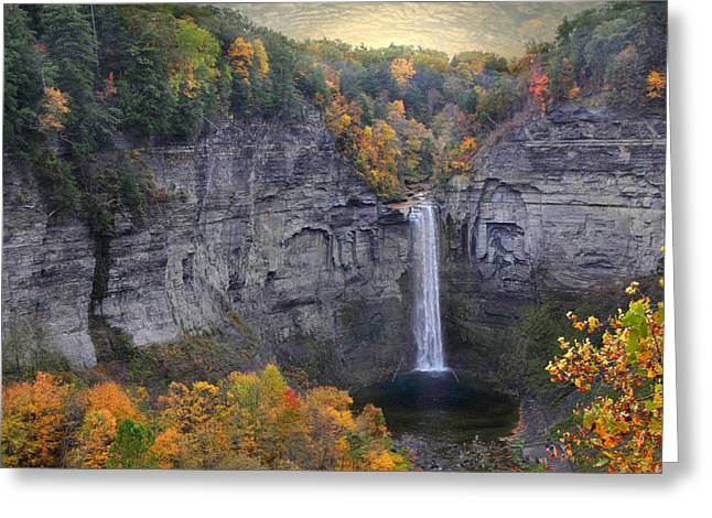 Taughannock Falls In Color Greeting Card by Jessica Jenney