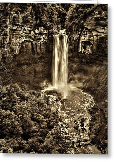 Taughannock Falls - Sepia Greeting Card by Stephen Stookey