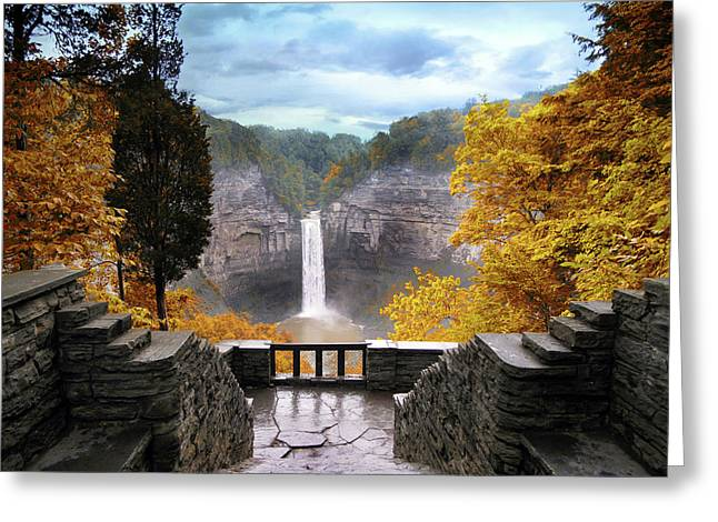 Taughannock In Autumn Greeting Card by Jessica Jenney