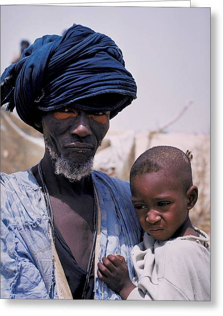 Taureg Father And Son In Senegal Greeting Card by Carl Purcell