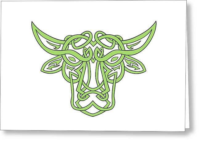 Taurus Bull Celtic Knot Greeting Card by Aloysius Patrimonio