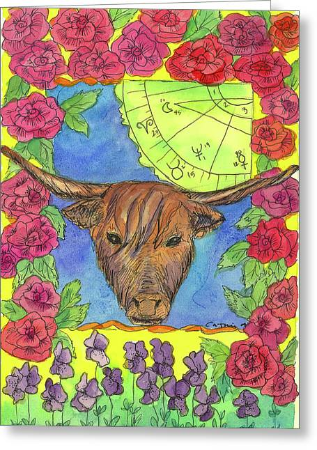 Greeting Card featuring the painting Taurus by Cathie Richardson