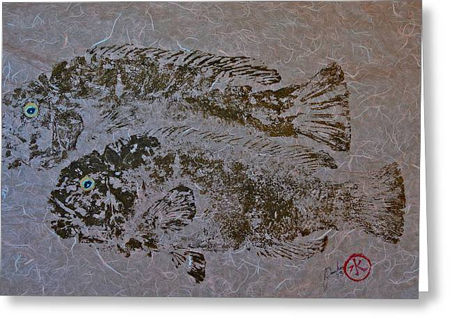 Tautog With Shadow Greeting Card by Jeffrey Canha