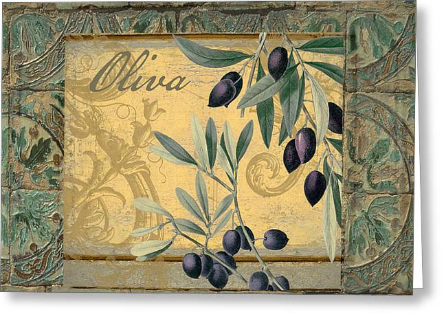 Tavolo, Italian Table, Olives Greeting Card by Mindy Sommers