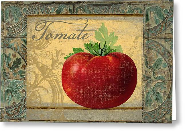 Tavolo, Italian Table, Tomate Greeting Card by Mindy Sommers